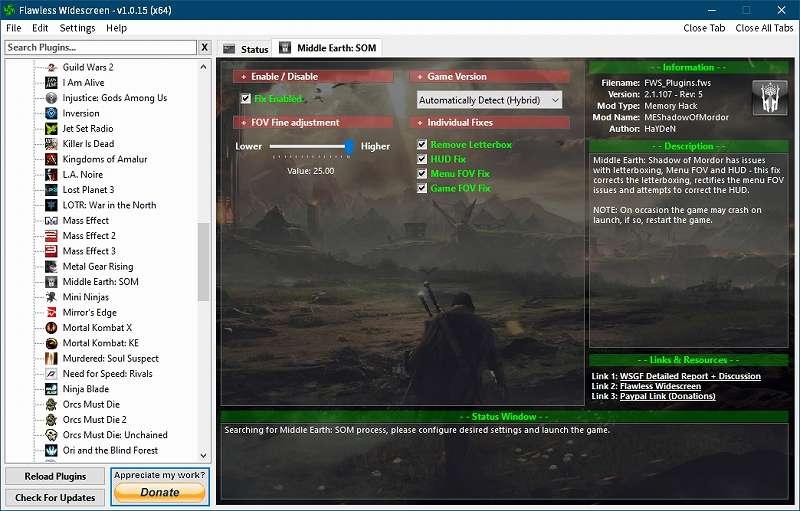 PC ゲーム Middle-earth: Shadow of Mordor GOTY 日本語化とフォント変更方法と DLC The Bright Lord(明王)で日本語を表示する方法、PC ゲーム Middle-earth: Shadow of Mordor GOTY ゲームプレイ最適化情報、FOV 変更方法、Flawless Widescreen - FWS Plugins - Middle Earth: SOM - FOV Fine adjustment Value: 25.00(最大値)