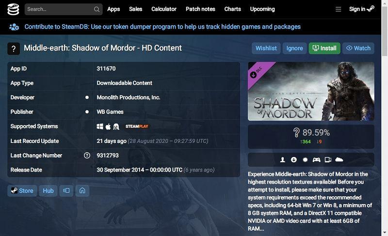 PC ゲーム Middle-earth: Shadow of Mordor GOTY 日本語化とフォント変更方法と DLC The Bright Lord(明王)で日本語を表示する方法、PC ゲーム Middle-earth: Shadow of Mordor GOTY ゲームプレイ最適化情報、DLC HD Content インストール方法、ブラウザから SteamDB にある DLC HD Content(https://steamdb.info/app/311670/) にアクセス、Install ボタンをクリック