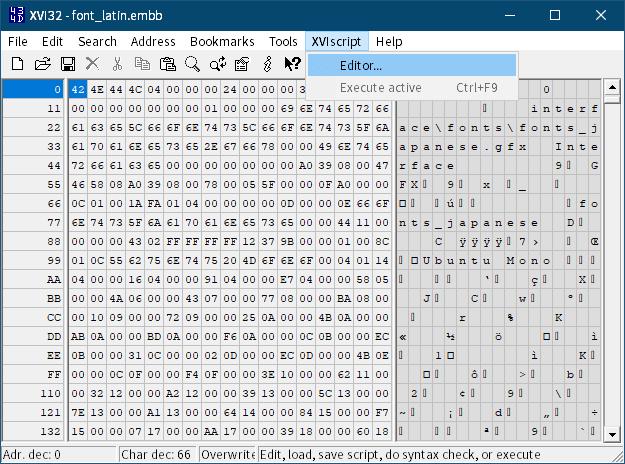 PC ゲーム Middle-earth: Shadow of Mordor GOTY 日本語化とフォント変更方法と DLC The Bright Lord(明王)で日本語を表示する方法、PC ゲーム Middle-earth: Shadow of Mordor GOTY 日本語化手順、手順 2 : Shadow of Mordor インストール先フォルダに日本語翻訳ファイル・フォントファイル配置&設定、バイナリエディタ XVI32 のスクリプトを使った font_latin.embb バイナリデータ書き換え方法、XVI32 を起動してメニュー XVIscript → Editor をクリック