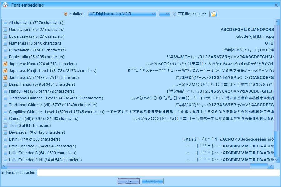 PC ゲーム Middle-earth: Shadow of War Definitive Edition 日本語編集方法とフォント変更方法とゲームプレイ最適化メモ、PC ゲーム Middle-earth: Shadow of War Definitive Edition 日本語フォント変更方法、FFDec(JPEXS Free Flash Decompiler) を使って UD デジタル教科書体 NK-B フォントに変更、FFDec(JPEXS Free Flash Decompiler) を使って UD デジタル教科書体 NK-B フォントに変更、FFDec(JPEXS Free Flash Decompiler)で font_latin.embb をバイナリエディタで先頭 38バイト削除して拡張子を変更した font_latin.gfx を開く、fonts フォルダにある DefineFont3 (7: Arial Unicode MS) をクリック、Parameters にある Characters に漢字があることを確認して Embed ボタンをクリック、Windows 10 標準搭載フォント UD Digi Kyokasho(UD デジタル教科書体) NK-B を選択、Japanese Kana、Japanese Kanji - Level 1、Japanese (All) にチェックマークを入れて OK ボタンをクリック
