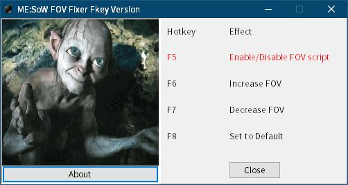 PC ゲーム Middle-earth: Shadow of War Definitive Edition 日本語編集方法とフォント変更方法とゲームプレイ最適化メモ、PC ゲーム Middle-earth: Shadow of War Definitive Edition ゲームプレイ最適化情報、FOV 変更方法、ゲームを起動してセーブデータロード後に ME:SoW FOV Fixer Fkey Version を起動(ファンクションキー操作)、F5 キーを押すと Enable/Disable FOV script になり赤文字で表示