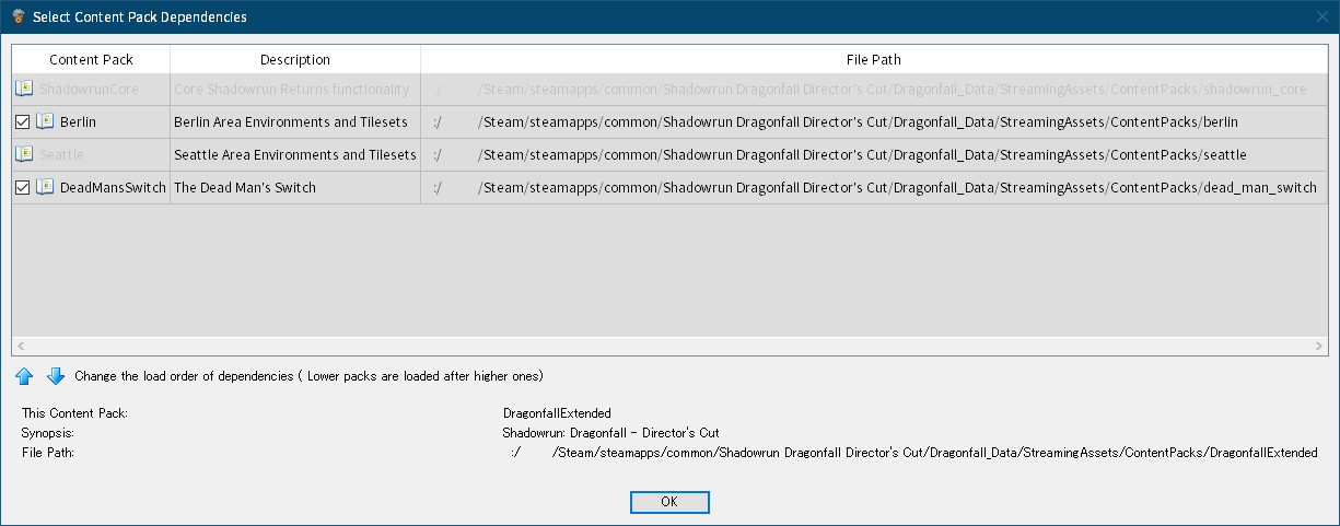 Shadowrun: Dragonfall - Director's Cut 付属ツール Shadowrun Editor のクラッシュ対策と翻訳用データファイルを完全にエクスポートする方法、Scene を開くための設定、Shadowrun Editor のメニュー File → Edit Content Pack Dependencies をクリック → Content Pack Validation Failed 画面エラーログ閉じた後に表示される Select Content Pack Dependencies 画面で各 Conten Pack にチェックマーク