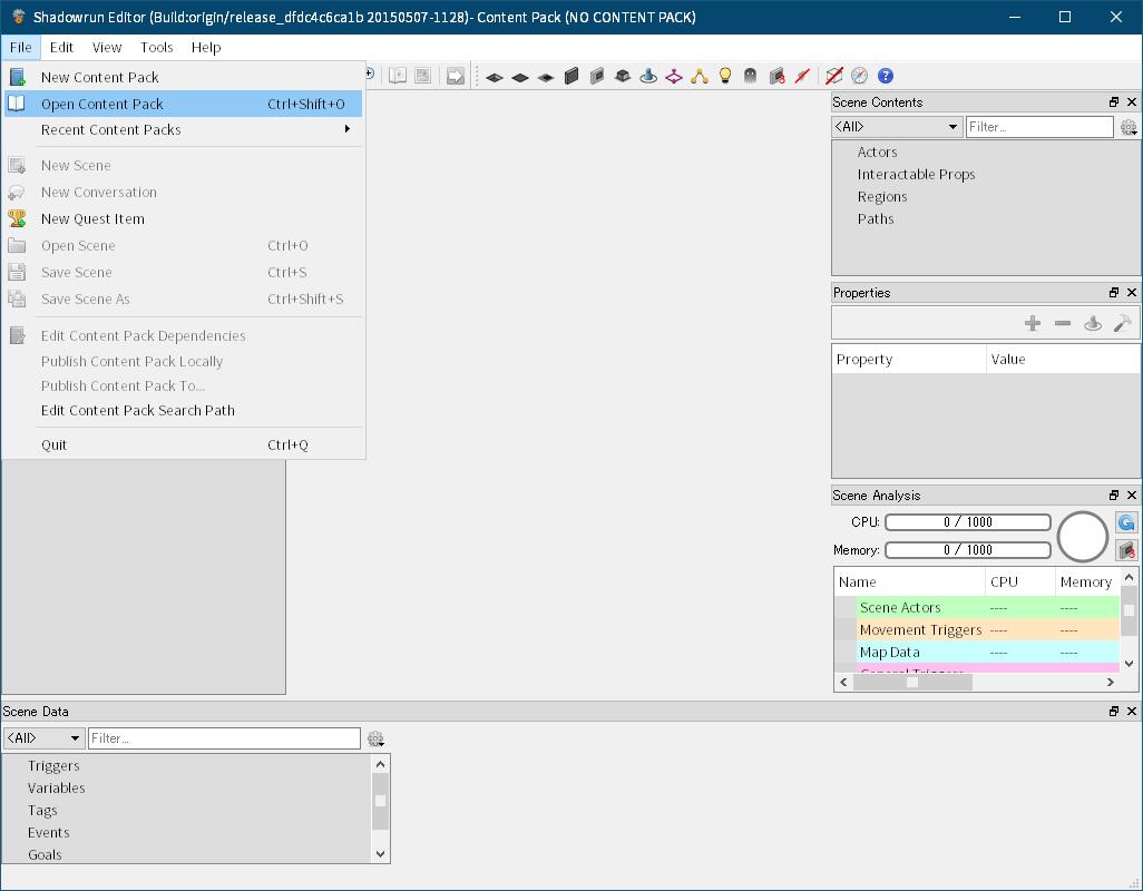 Shadowrun: Dragonfall - Director's Cut 付属ツール Shadowrun Editor のクラッシュ対策と翻訳用データファイルを完全にエクスポートする方法、Shadowrun Editor のメニュー File → Open Conten Pack をクリック