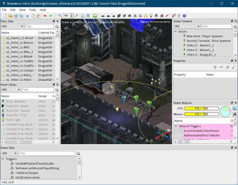 Shadowrun: Dragonfall - Director's Cut 付属ツール Shadowrun Editor のクラッシュ対策と翻訳用データファイルを完全にエクスポートする方法、Scene を開くための設定、Shadowrun Editor のメニュー File → Edit Content Pack Dependencies をクリック → Content Pack Validation Failed 画面エラーログ閉じた後に表示される Select Content Pack Dependencies 画面で各 Conten Pack にチェックマーク、Shadowrun Editor のメニュー File → Open Scene でエラーなく中身が表示できる