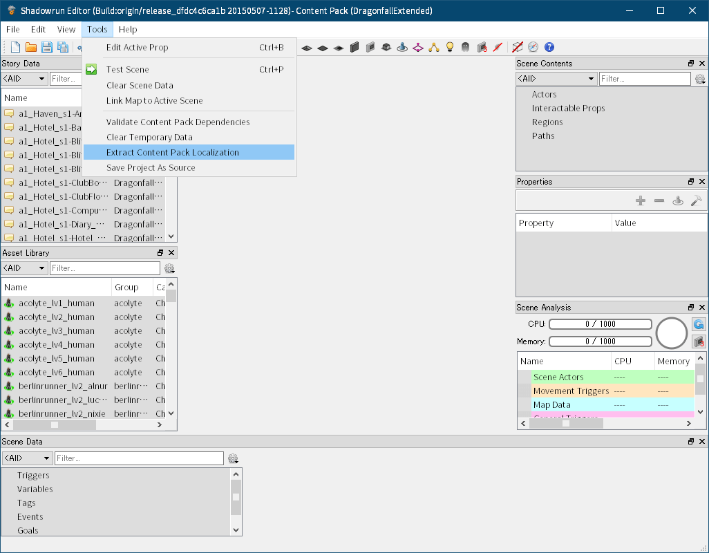 Shadowrun: Dragonfall - Director's Cut 付属ツール Shadowrun Editor のクラッシュ対策と翻訳用データファイルを完全にエクスポートする方法、Shadowrun Editor で Dragonfall_Data\StreamingAssets\ContentPacks フォルダ以下にある project.cpack.bytes を開き、Shadowrun Editor のメニュー Tools → Extract Content Pack Localization で pot ファイルをエクスポートすると一部の翻訳用データが抜ける