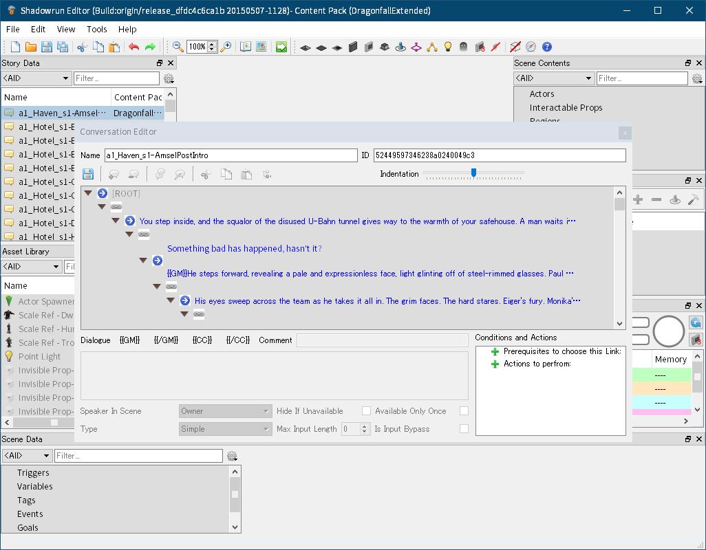 Shadowrun: Dragonfall - Director's Cut 付属ツール Shadowrun Editor のクラッシュ対策と翻訳用データファイルを完全にエクスポートする方法、Shadowrun Editor のメニュー File → Edit Content Pack Search Path をクリック → Select Content Directories 画面で Shadowrun: Dragonfall - Director's Cut がインストールされているフォルダにある Dragonfall_Data\StreamingAssets\ContentPacks フォルダを追加、Story Data を開いても Shadowrun Editor が落ちなくなる