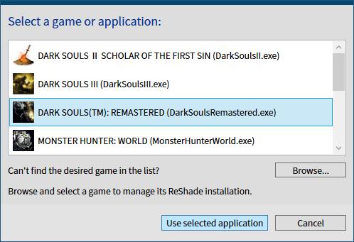 古い ReShade プリセットファイルを ReShade 4.6.0 以降で有効化する方法、ReShade Setup v4.7.0、Select a game or application 画面で ReShade をインストールしたいインストール済みゲームまたは Browse ボタンからゲームの exe ファイルを選択して Use selected applicastion ボタンをクリック
