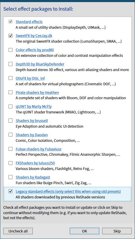 古い ReShade プリセットファイルを ReShade 4.6.0 以降で有効化する方法、ReShade Setup v4.7.0、Select effect packages to install 画面で Legacy standard effects (only select this when using old presets) にチェックを入れて OK ボタンをクリック