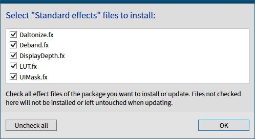 古い ReShade プリセットファイルを ReShade 4.6.0 以降で有効化する方法、ReShade Setup v4.7.0、Select Standard effects files to install 画面、デフォルトですべてチェックマークが入っている状態で OK ボタンをクリックするとファイルをダウンロード