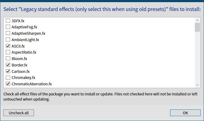 古い ReShade プリセットファイルを ReShade 4.6.0 以降で有効化する方法、ReShade Setup v4.7.0、Select Legacy standard effects (only select this when using old presets) files to install 画面