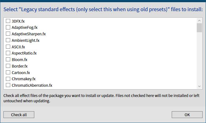 古い ReShade プリセットファイルを ReShade 4.6.0 以降で有効化する方法、ReShade Setup v4.7.0、Select Legacy standard effects (only select this when using old presets) files to install 画面、Uncheck all ボタンをクリックしてチェックマークをすべて外す