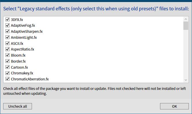 古い ReShade プリセットファイルを ReShade 4.6.0 以降で有効化する方法、ReShade Setup v4.7.0、Select Legacy standard effects (only select this when using old presets) files to install 画面、Uncheck all ボタンをクリックしてチェックマークをすべて外した後、Check all ボタンをクリックしてすべてチェックマークを入れた状態で OK ボタンをクリックするとファイルをダウンロード