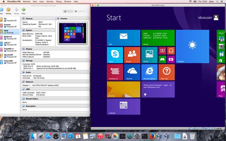 VirtualBox から Mac → Windows 8.1 起動