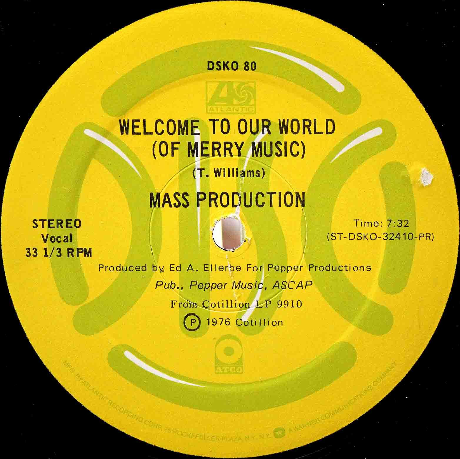 Mass Production ‎ Welcome To Our World 12 03