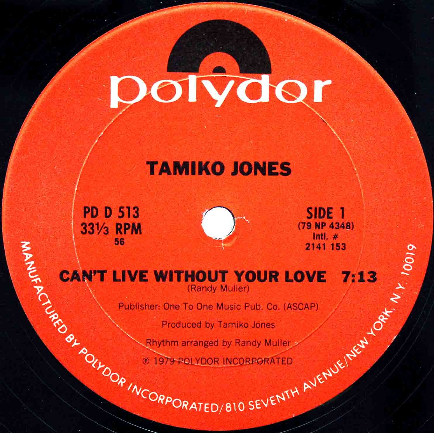 Tamiko Jones ‎– Cant Live Without Your Love US 03