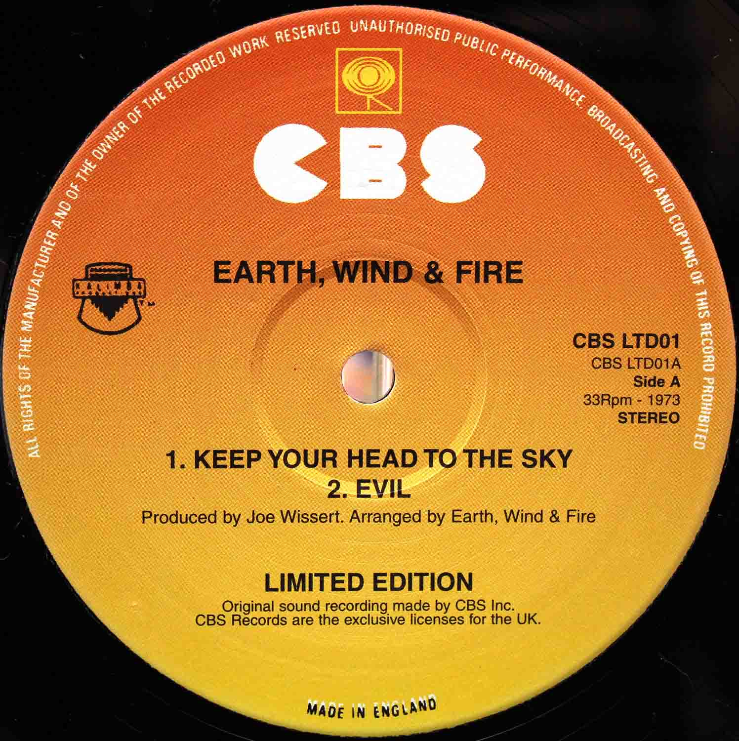 Earth, Wind Fire ‎– Keep Your Head To The Sky UK 02