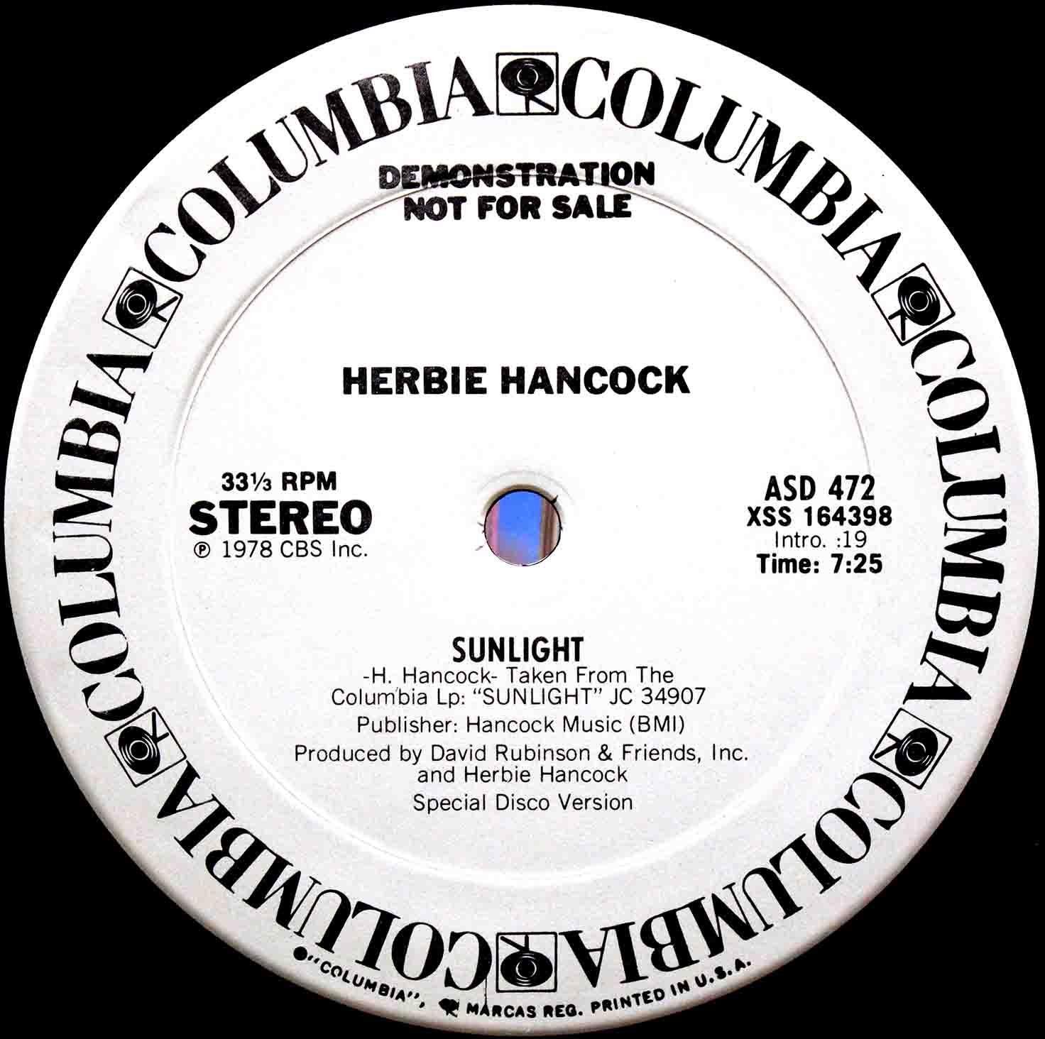 Herbie Hancock Sunlight (US Promo 12`Special Long Version) 02