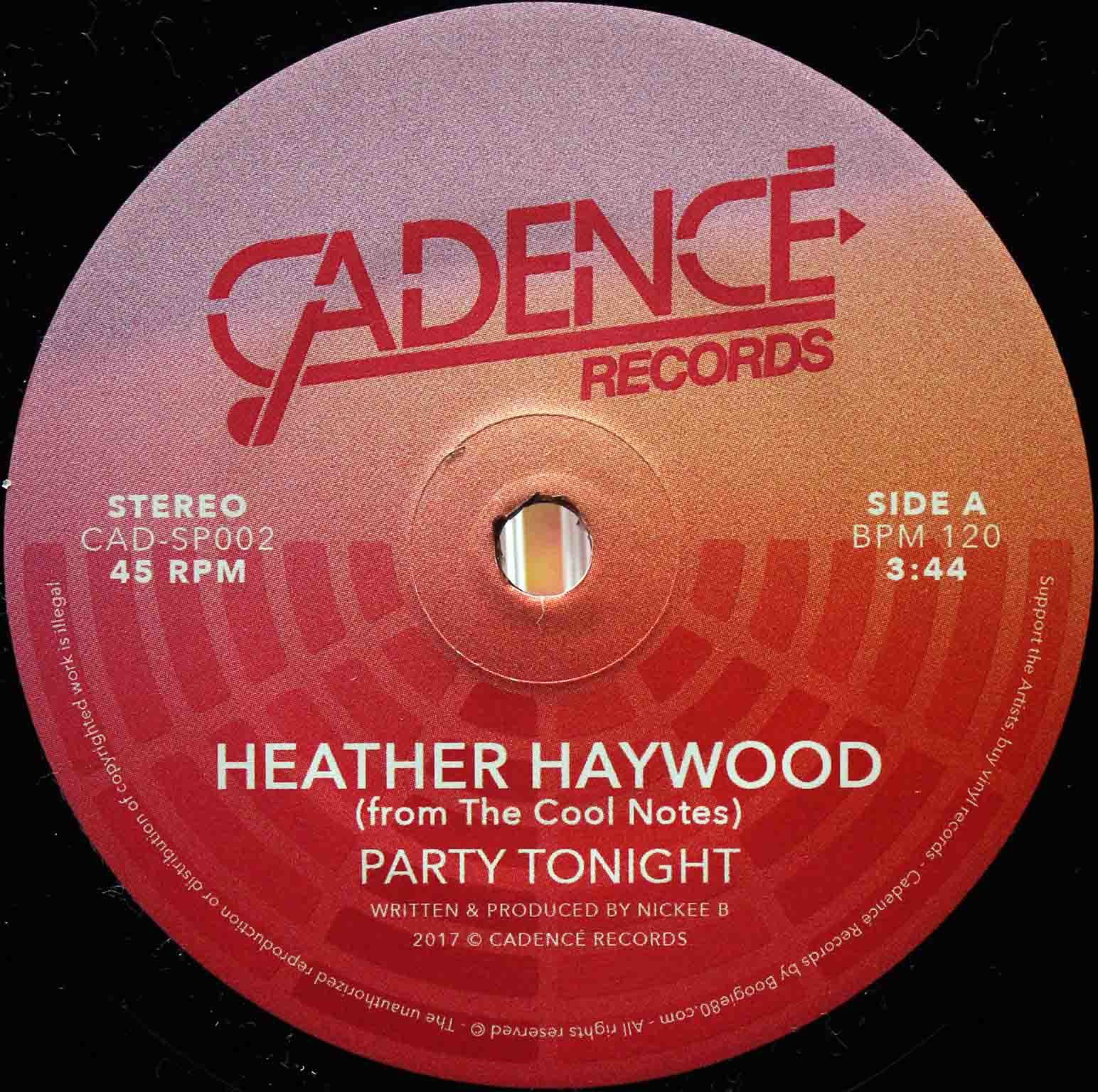 Heather Haywood From The Cool Notes ‎– Party Tonight 05