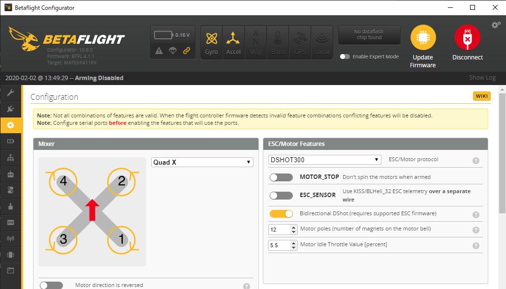 双方向DSHOTとRPMフィルタの導入 (2) / Betaflightの設定
