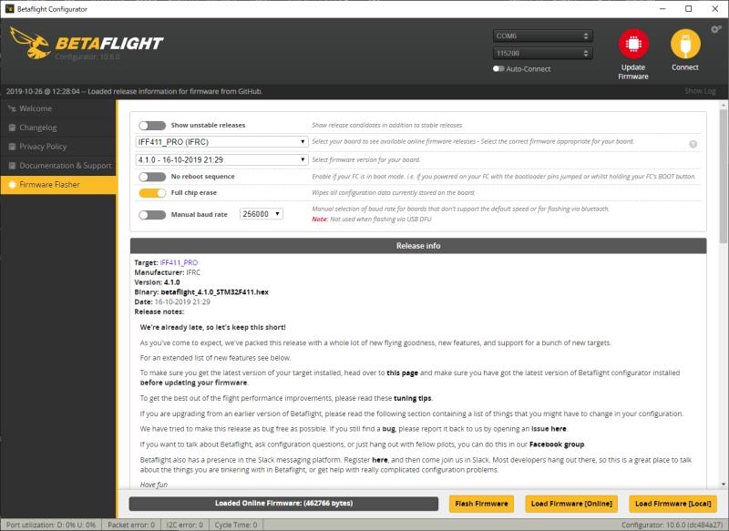 iFlight TurboBee 77R Micro FPV Race Whoop レビュー(12) / ファームウェア変更(Betaflight 4.1.0)