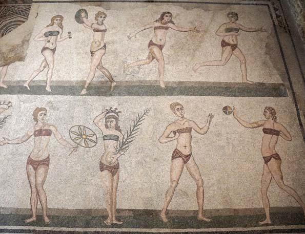 320191114 ピアッツアあるメリーな 古代ローマのカサーレ モザイク Sala delle Diecl Ragazze 10人の娘の間 21cm   _DSC7025