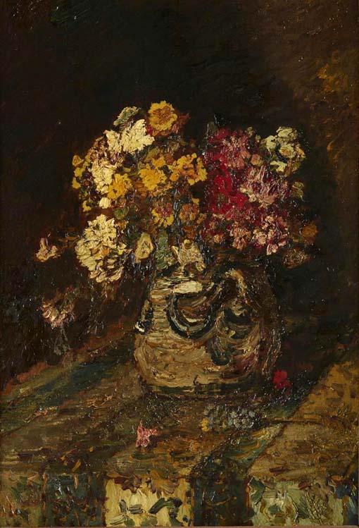 202000112 ゴッホ展 アドルフモンティセリ 陶器壺の花 1875 18㎝