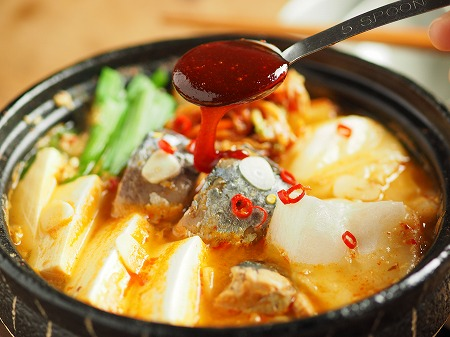 サバ缶と餅のキムチ鍋015