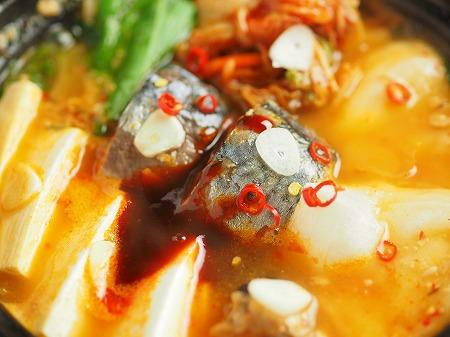 サバ缶と餅のキムチ鍋020