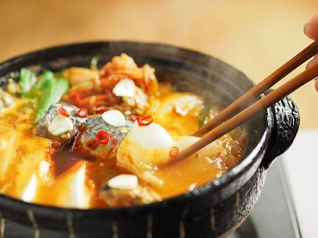 サバ缶と餅のキムチ鍋032