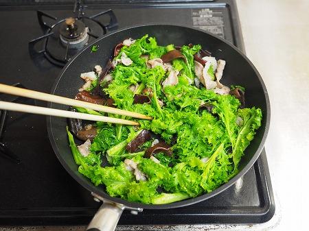 わさび菜ときくらげの卵炒め049