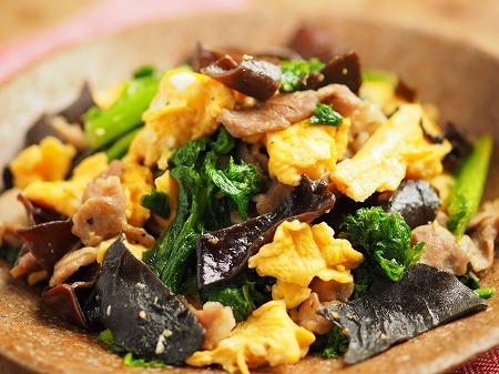 わさび菜ときくらげの卵炒め020