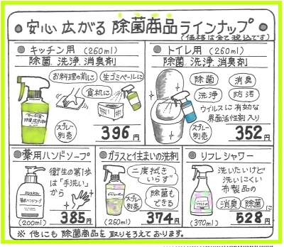 除菌商品ラインナップ