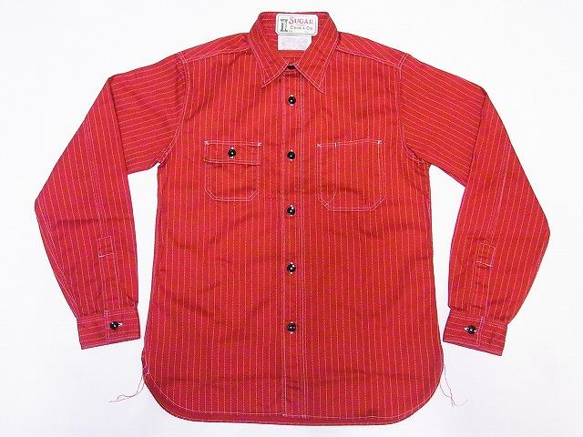 シュガーケーン ワークシャツ レッドウォバッシュ ストライプ SC28340
