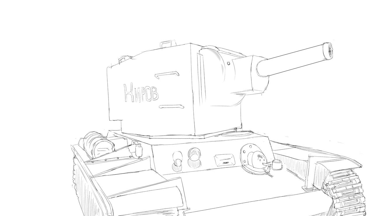 KV-2戦車 プラモの写真のスケッチを白黒で塗ってハードライトで色をを乗せる