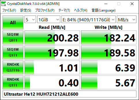 【CrystalDiskMark 7.0.0f】Ultrastar He12 HUH721212ALE600