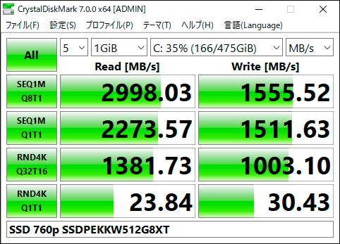 【CrystalDiskMark 7.0.0f】SSD 760p SSDPEKKW512G8XT