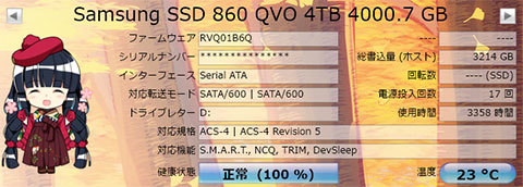 【CrystalDiskInfo 8.3.2】860 QVO MZ-76Q4T0B/IT