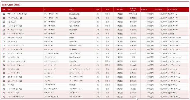 東京TC2020募集馬②