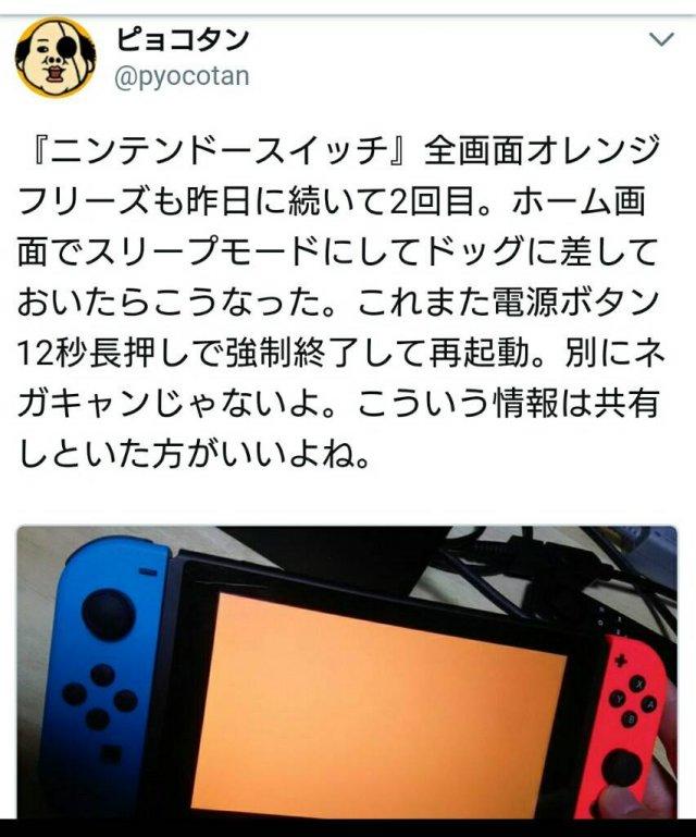 ユーザー『スイッチ購入一日でオレンジスクリーン連発!』