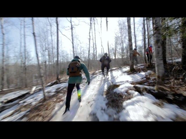 山中で!アイススケートを楽しむ人々・・・