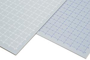 プラ=プレート グレー 目盛付き 厚さ0.8mm 目盛印刷:ホワイト、プラ=プレート グレー 目盛付き 厚さ0.8mm 目盛印刷:ブルーt