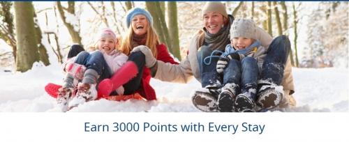 ベストウェスタンリワード 1滞在あたり3,000ボーナスポイントがもらえるキャンペーン。
