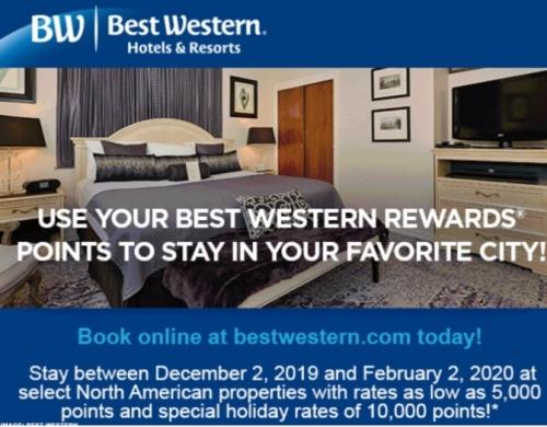 ベストウエスタンリワード アメリカで5,000&10,000ポイントで無料宿泊