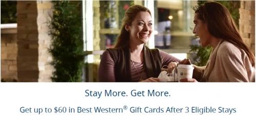 ベストウエスタンリワードで最大60ドルのギフトカードを獲得