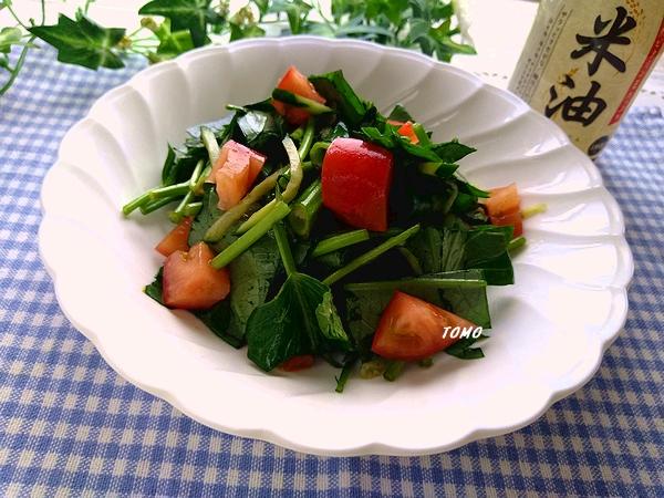 空心菜とトマトのポン酢生姜サラダ