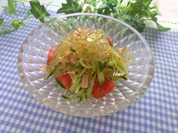 きゅうりとハムのところてんサラダ