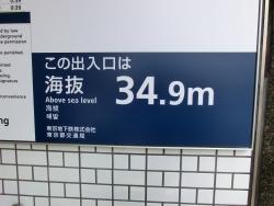34.9メートルの表示 新宿駅記事1