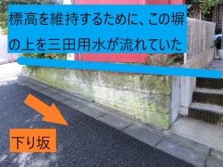 今里地蔵の横の塀 港区白金台三田用水記事2