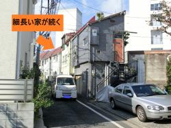 細長い家が続く 港区白金台三田用水記事2