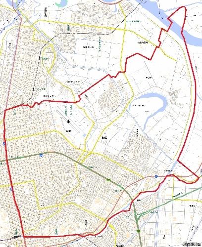 地理院地図 札幌市東区 区域